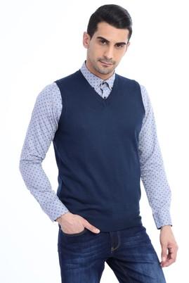 Erkek Giyim - Petrol M Beden V Yaka Yünlü Süveter