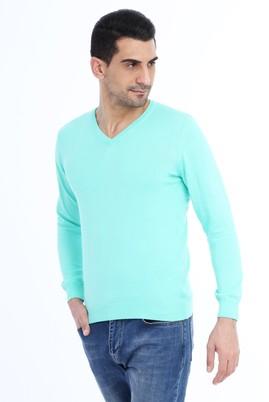 Erkek Giyim - Açık Mavi M Beden V Yaka Slim Fit Triko Kazak