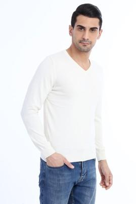 Erkek Giyim - Krem M Beden V Yaka Slim Fit Triko Kazak