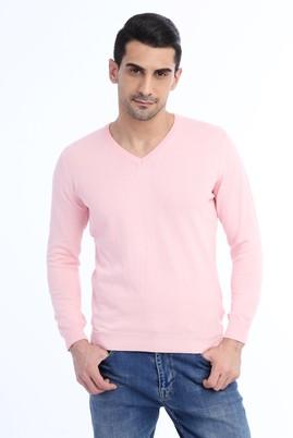 Erkek Giyim - Pembe XL Beden V Yaka Slim Fit Triko Kazak