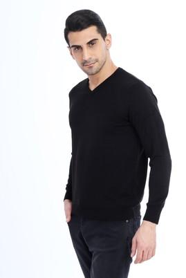 Erkek Giyim - Siyah M Beden V Yaka Regular Fit Triko Kazak