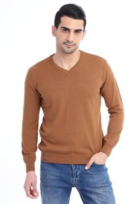Erkek Giyim - Açık Kahve - Camel M Beden V Yaka Triko Kazak