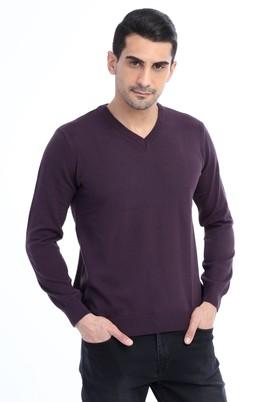 Erkek Giyim - Mor XL Beden V Yaka Regular Fit Triko Kazak