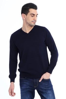 Erkek Giyim - Lacivert XL Beden V Yaka Regular Fit Triko Kazak