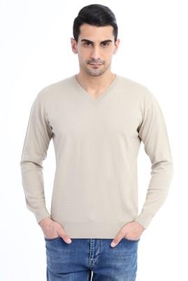 Erkek Giyim - VİZON M Beden V Yaka Regular Fit Triko Kazak