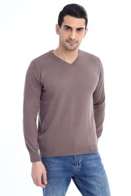 Erkek Giyim - VİZON S Beden V Yaka Regular Fit Triko Kazak
