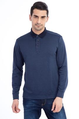 Erkek Giyim - Petrol M Beden Polo Yaka Desenli Sweatshirt