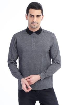 Erkek Giyim - Antrasit XL Beden Polo Yaka Desenli Sweatshirt