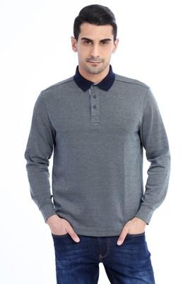Erkek Giyim - KOYU YESİL L Beden Polo Yaka Desenli Sweatshirt