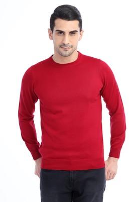 Erkek Giyim - Kırmızı M Beden Bisiklet Yaka Triko Kazak