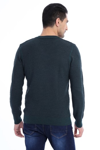 Erkek Giyim - V Yaka Yünlü Slim Fit Triko Kazak