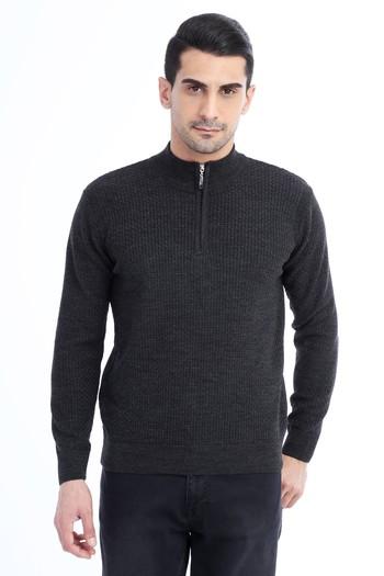 Erkek Giyim - Bato Yaka Fermuarlı Triko Kazak