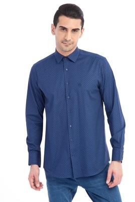 Erkek Giyim - Lacivert 3X Beden Uzun Kol Desenli Gömlek