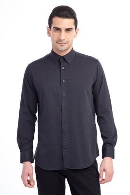 Erkek Giyim - Siyah L Beden Uzun Kol Regular Fit Desenli Spor Gömlek