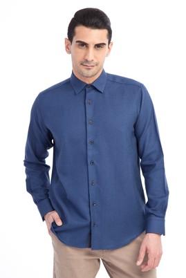 Erkek Giyim - Mavi XL Beden Uzun Kol Desenli Spor Gömlek