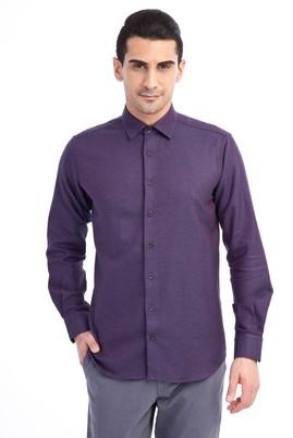 Erkek Giyim - Bordo L Beden Uzun Kol Desenli Spor Gömlek