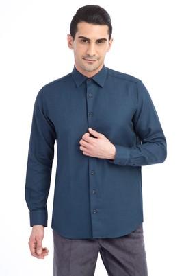 Erkek Giyim - KOYU YESİL XL Beden Uzun Kol Desenli Spor Gömlek