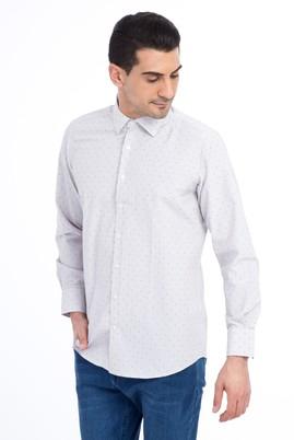 Erkek Giyim - Bej L Beden Uzun Kol Desenli Spor Gömlek