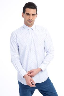 Erkek Giyim - Açık Mavi L Beden Uzun Kol Desenli Spor Gömlek