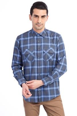 Erkek Giyim - Orta füme XL Beden Uzun Kol Desenli Spor Gömlek
