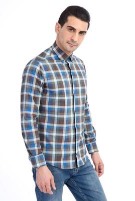 Erkek Giyim - Mavi XL Beden Uzun Kol Oduncu Gömlek