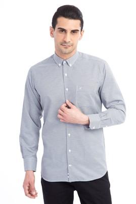 Erkek Giyim - Siyah L Beden Uzun Kol Regular Fit Desenli Gömlek