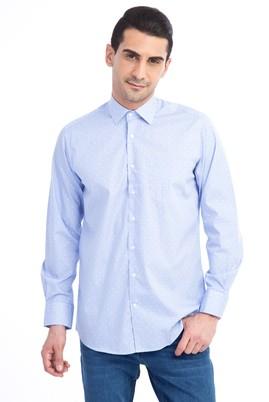 Erkek Giyim - Lacivert 4X Beden Uzun Kol Desenli Klasik Gömlek
