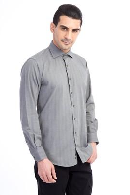 Erkek Giyim - Açık Gri L Beden Uzun Kol Regular Fit Oduncu Gömlek
