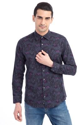 Erkek Giyim - Antrasit L Beden Uzun Kol Desenli Gömlek