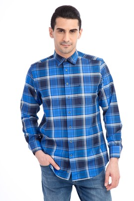 Erkek Giyim - Lacivert XL Beden Uzun Kol Desenli Gömlek