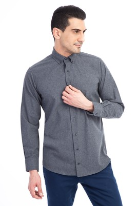 Erkek Giyim - Füme Gri XL Beden Uzun Kol Oduncu Gömlek