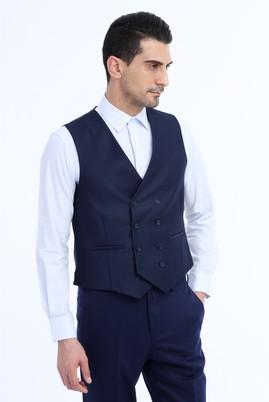 Erkek Giyim - Lacivert 48 Beden Kuşgözü Kruvaze Yelek