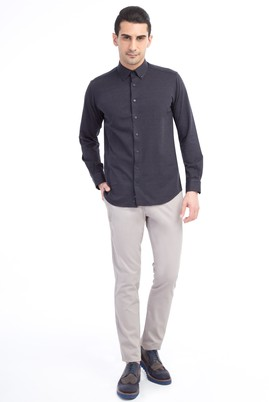 Erkek Giyim - Kum 58 Beden Slim Fit Desenli Pantolon