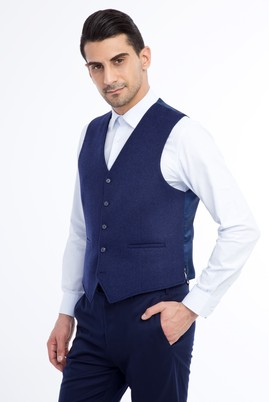 Erkek Giyim - Mavi 48 Beden Klasik Yelek