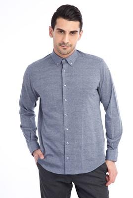 Erkek Giyim - Antrasit M Beden Uzun Kol Desenli Gömlek