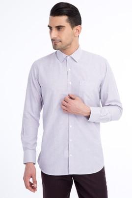 Erkek Giyim - Mor L Beden Uzun Kol Çizgili Klasik Gömlek