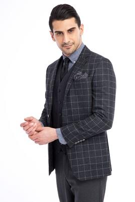 Erkek Giyim - Antrasit 46 Beden Slim Fit Kareli Ceket
