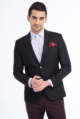Erkek Giyim - Siyah 48 Beden Slim Fit Kareli Yünlü Ceket