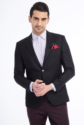 Erkek Giyim - Siyah 48 Beden Slim Fit Kareli Ceket