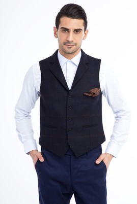 Erkek Giyim - Siyah 48 Beden Desenli Klasik Yelek