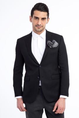 Erkek Giyim - SİYAH 50 Beden Desenli Blazer Ceket