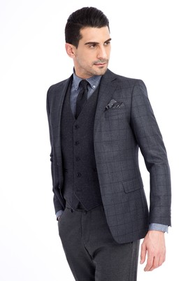 Erkek Giyim - Petrol 46 Beden Regular Fit Kareli Ceket
