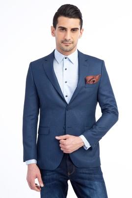 Erkek Giyim - Mavi 46 Beden Slim Fit Kuşgözü Ceket