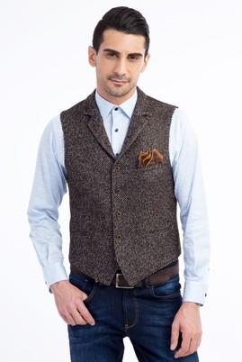 Erkek Giyim - Kahve 54 Beden Desenli Klasik Yelek