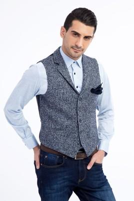 Erkek Giyim - Mavi 52 Beden Desenli Klasik Yelek