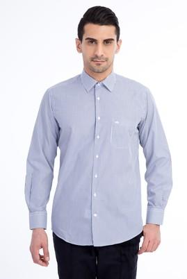Erkek Giyim - Lacivert L Beden Uzun Kol Çizgili Klasik Gömlek
