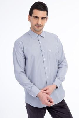 Erkek Giyim - Siyah M Beden Uzun Kol Çizgili Klasik Gömlek