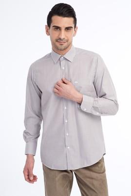 Erkek Giyim - Kahve XXL Beden Uzun Kol Çizgili Klasik Gömlek