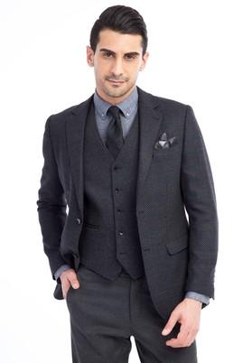 Erkek Giyim - Siyah 52 Beden Kareli Ceket