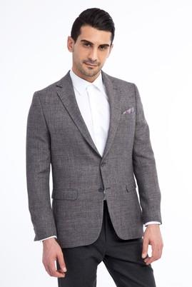 Erkek Giyim - Orta füme 52 Beden Desenli Klasik Ceket